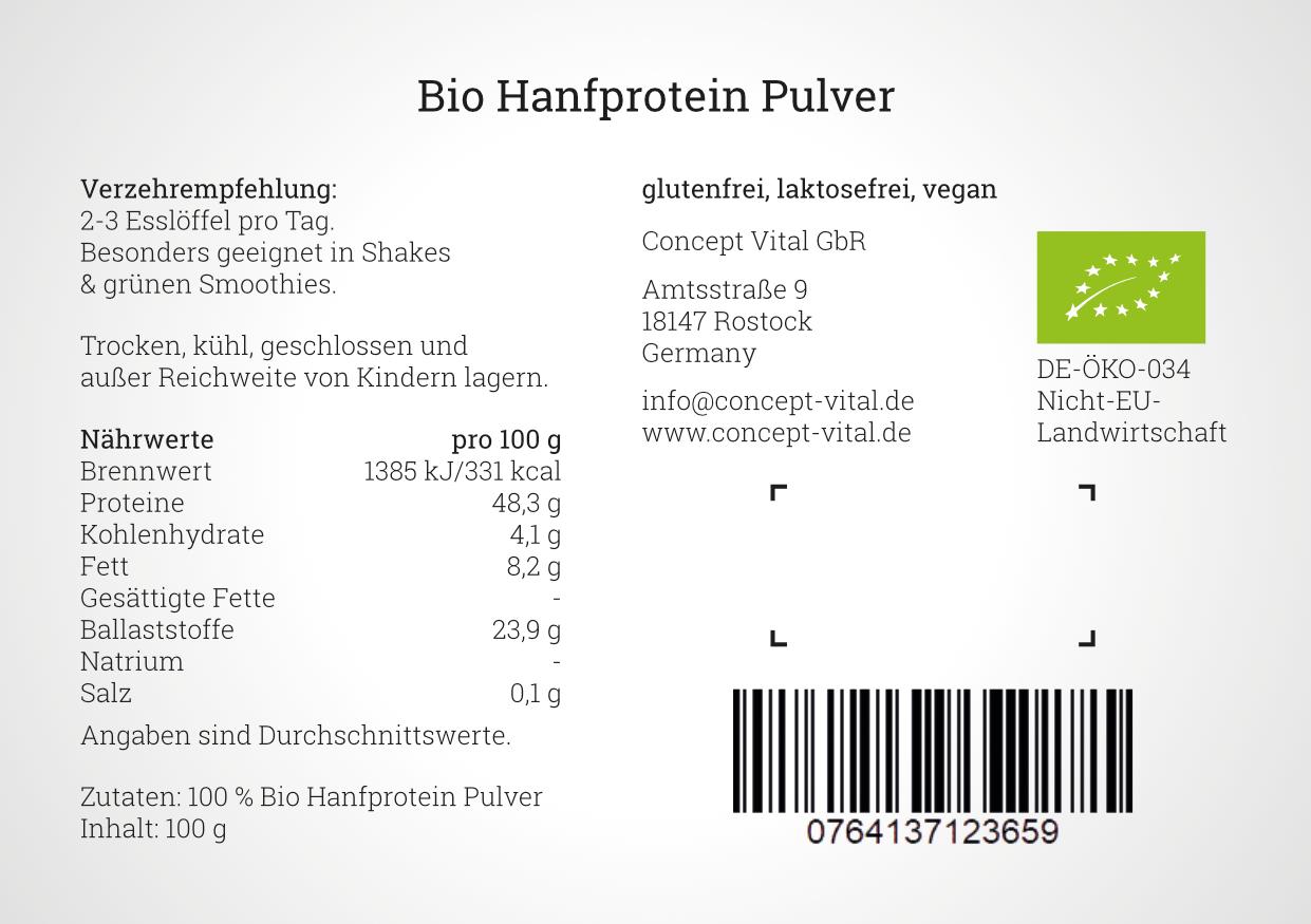 Hanfprotein Pulver Bio